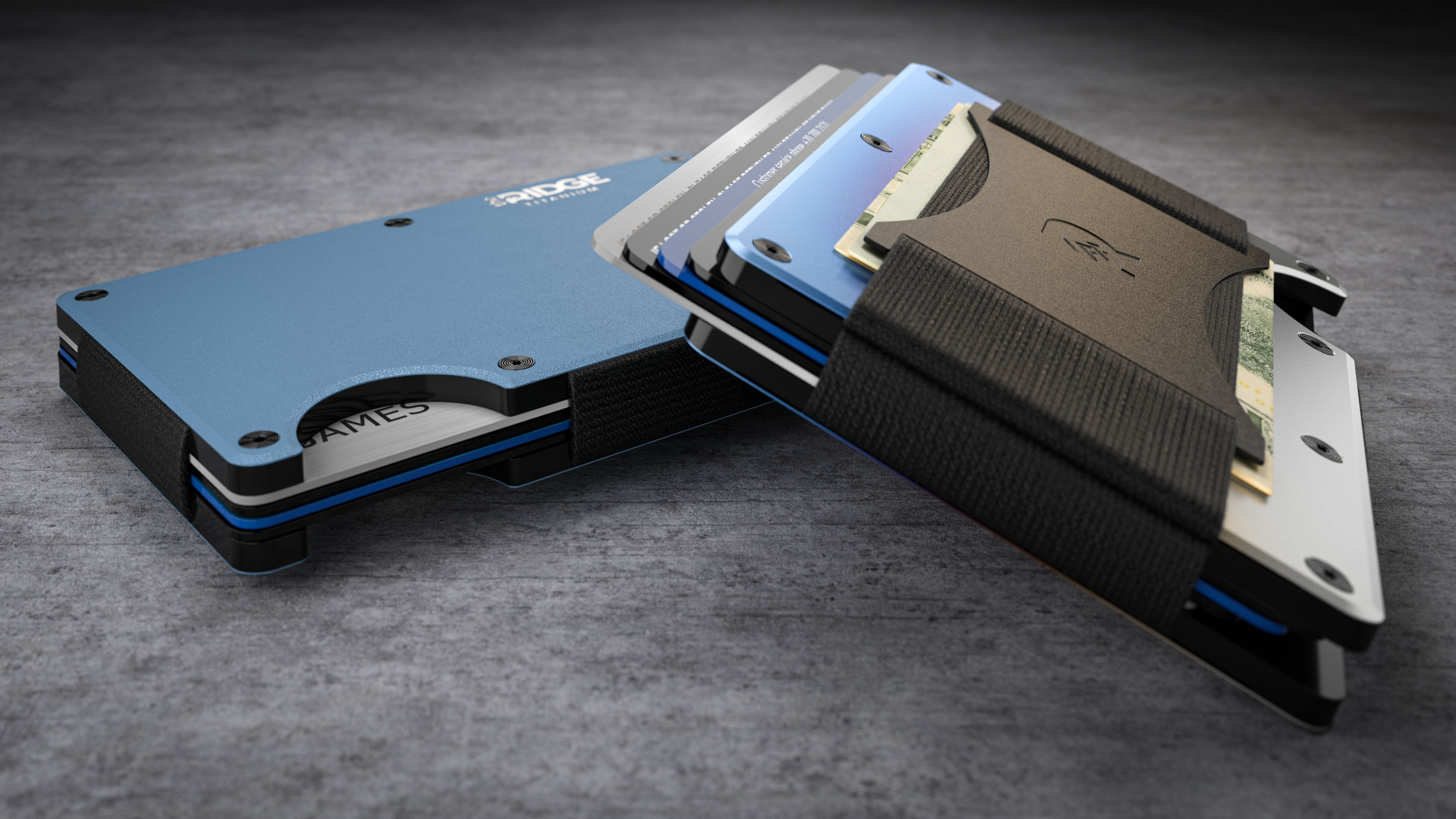 Wallet money clip product rendering sitting on wooden surrace