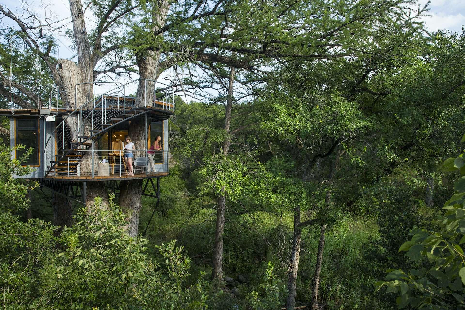 Artistree's custom designed Yoki treehouse in Austin, Texas.