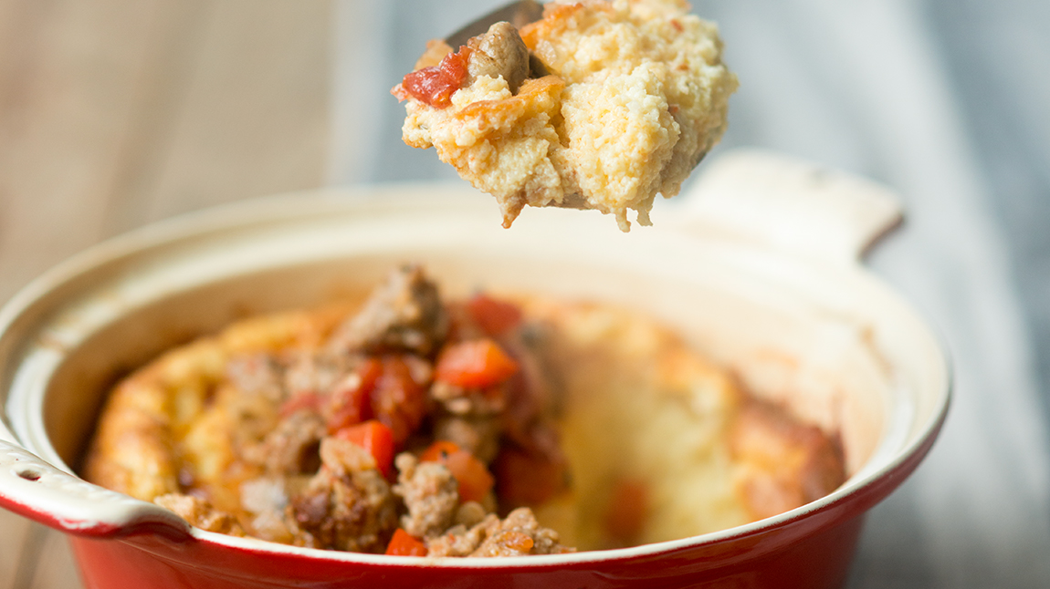 Spoonbread with Sausage Ragout