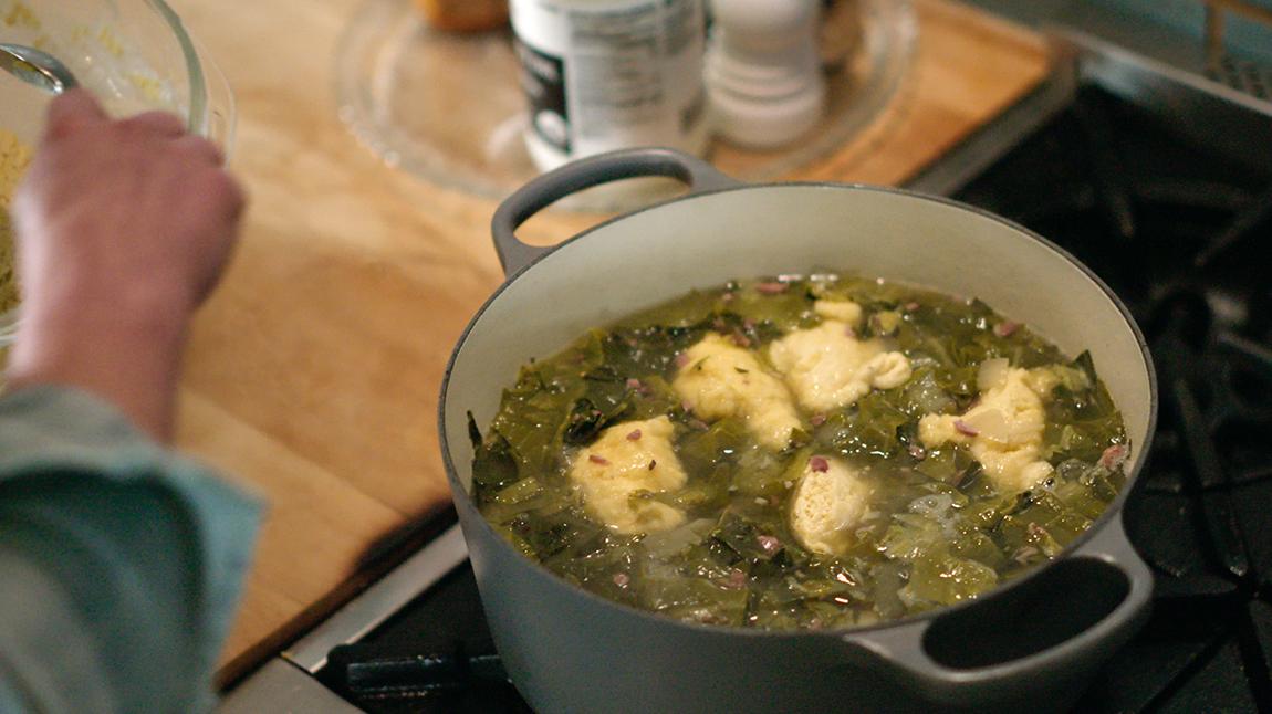 Stewed Greens with Cornmeal Dumplings