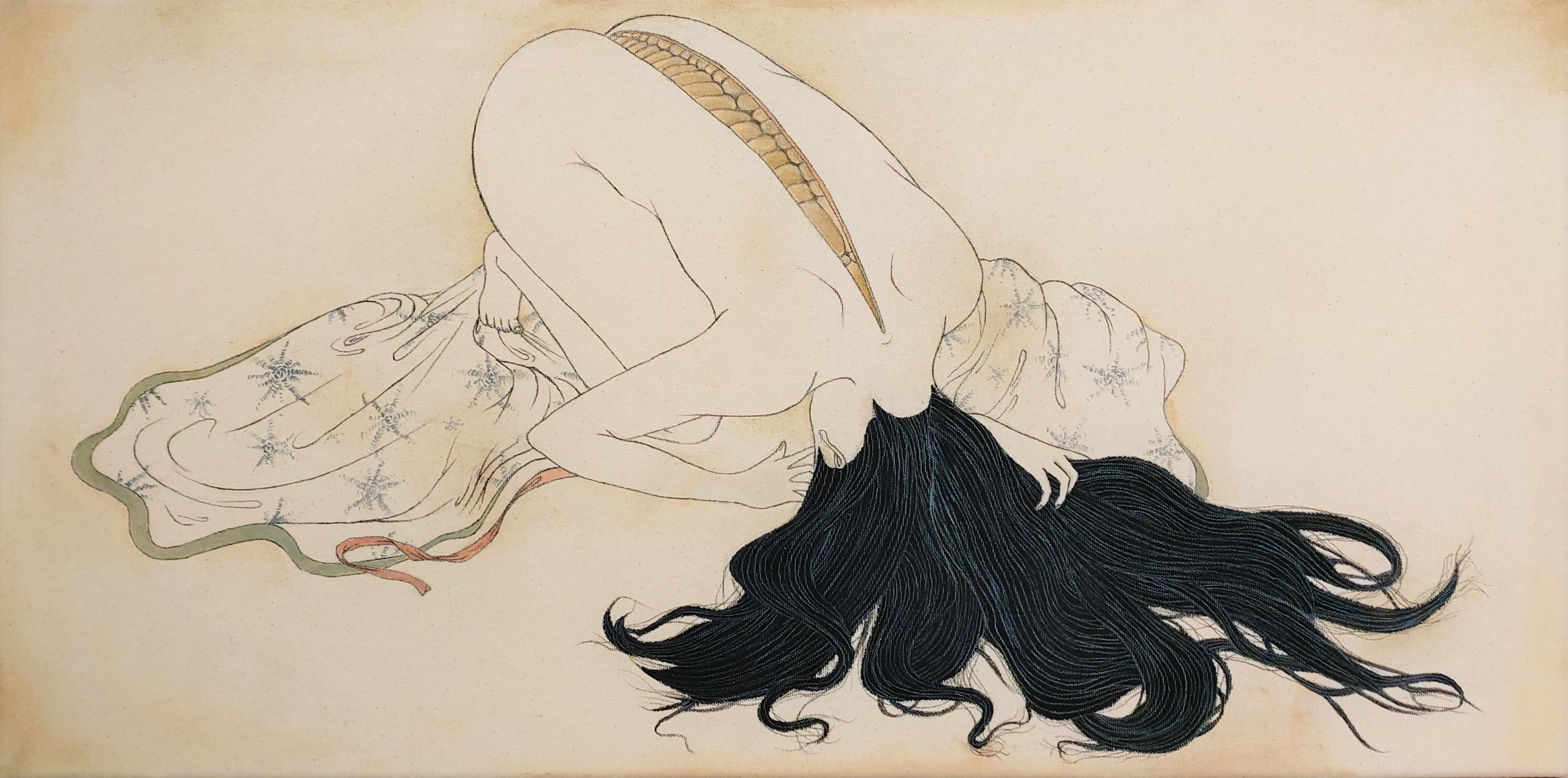 """""""Regarding the notion of regret as a physical manifestation with an impulse to emerge within a person, I presented it as a protective shell, much like the chrysalis of an insect. Inspired by shunga masters such as Kitagawa Utamaro, the cloth pooled on the floor, as well as the nudity point to a displaced sense of eroticism, contrasting the grotesque nature of the piece. While a chrysalis can symbolize protection and concealment of said """"regret"""", it also signifies an inevitable emergence."""""""