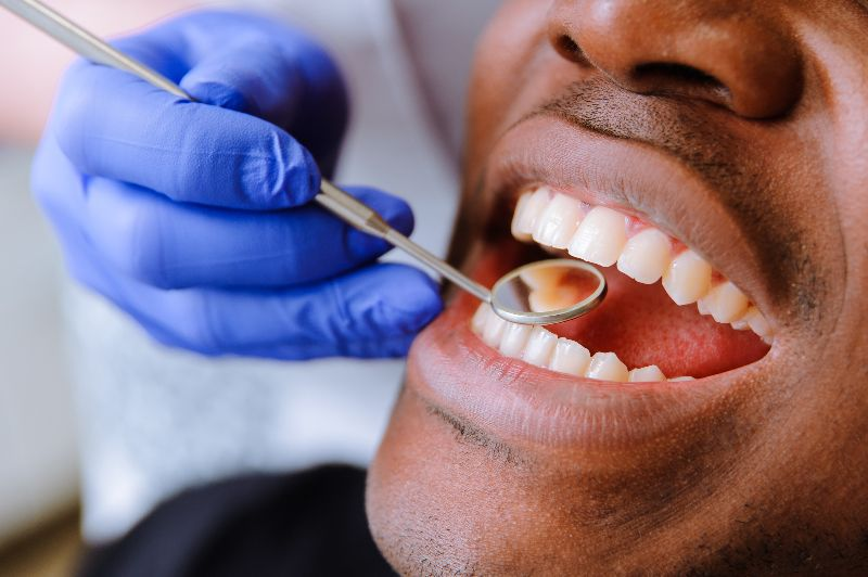 patient getting teeth checked