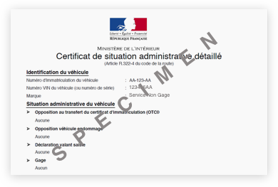 Demande De Certificat De Non Gage En Ligne Situation Administrative De Vehicule