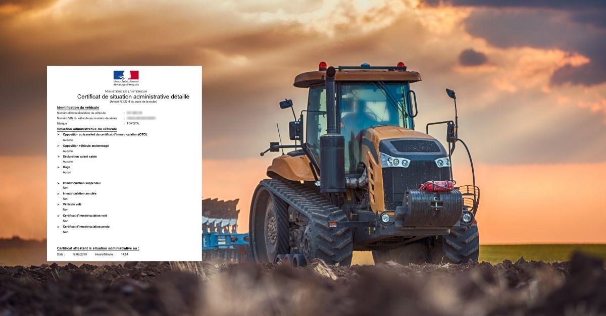 certificat de non gage tracteur