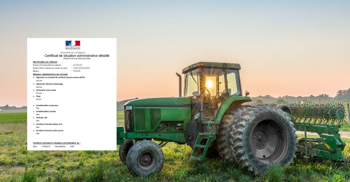 certificat de situation administrative détaillée tracteur