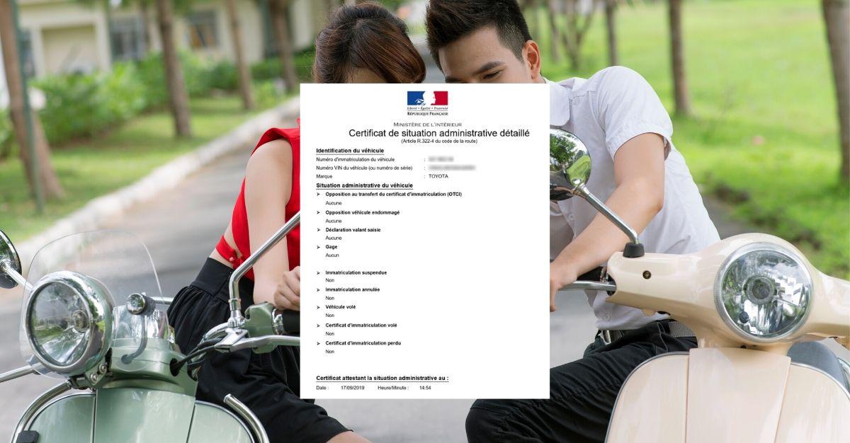 certificat de situation administrative détaillée scooter