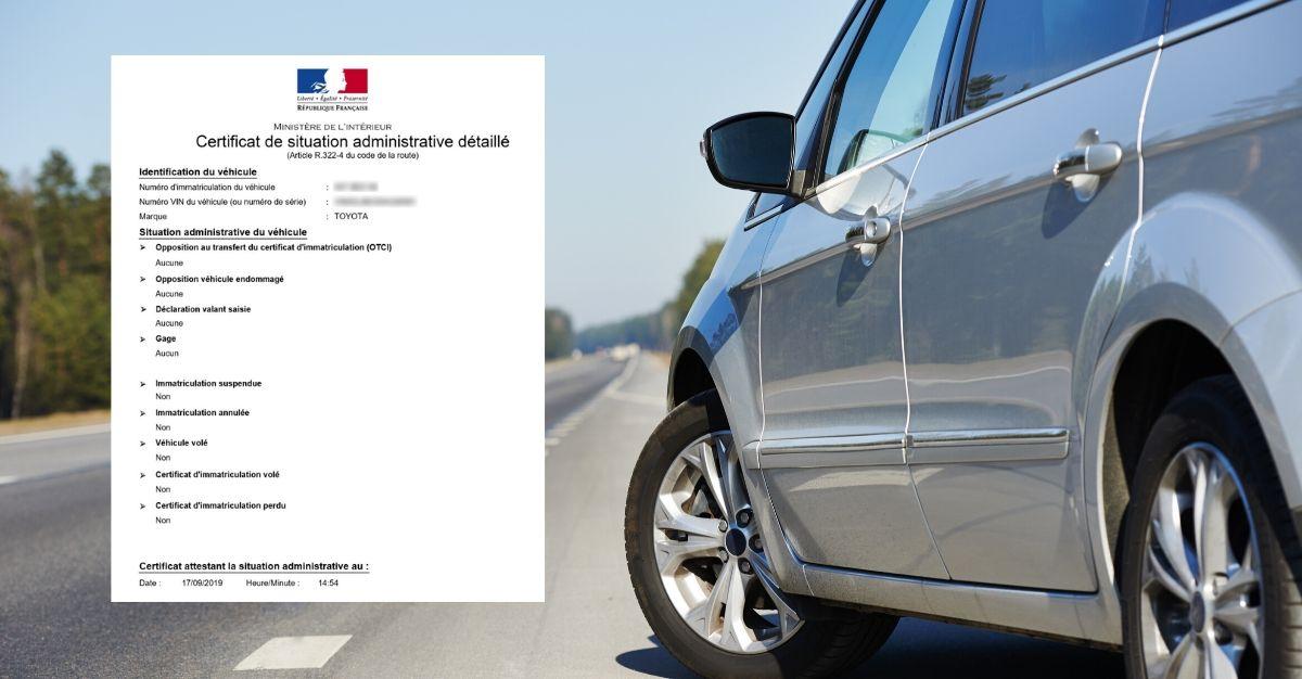 certificat de situation administrative détaillé voiture