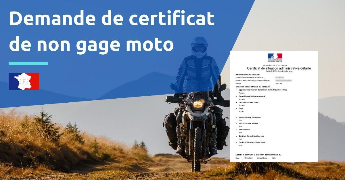 demande certificat non gage moto