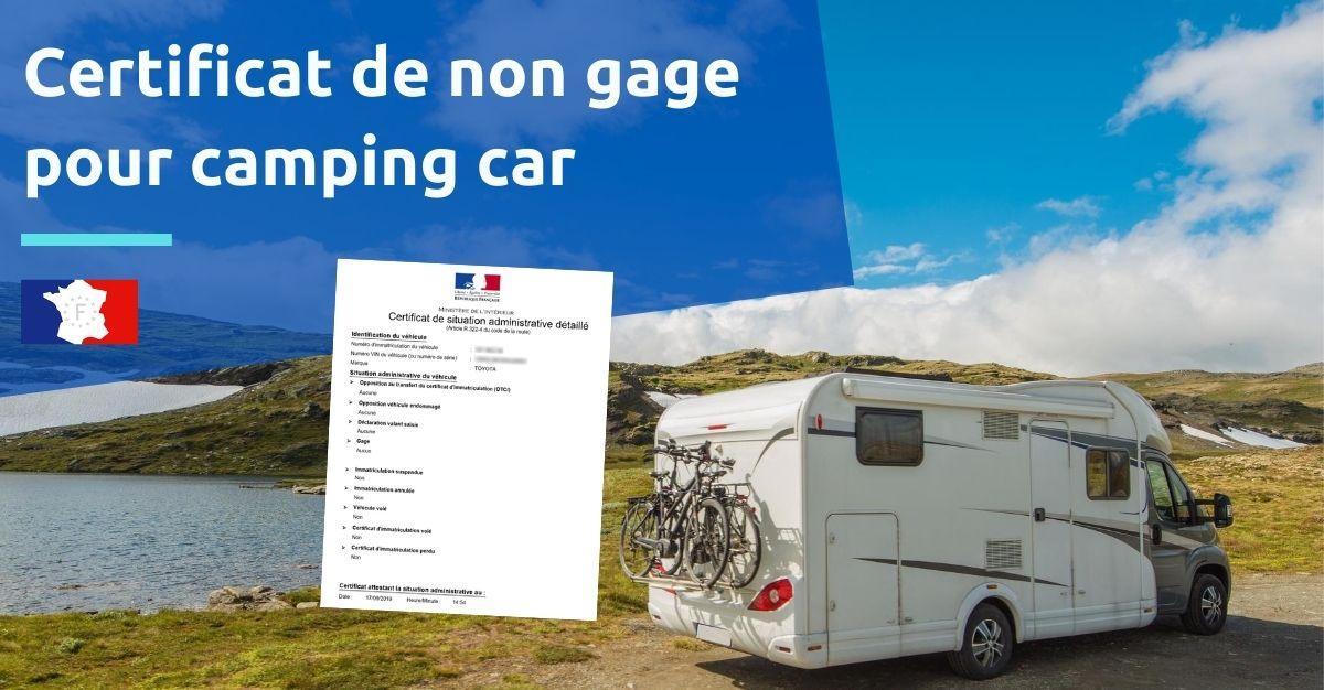 certificat de non gage pour camping car