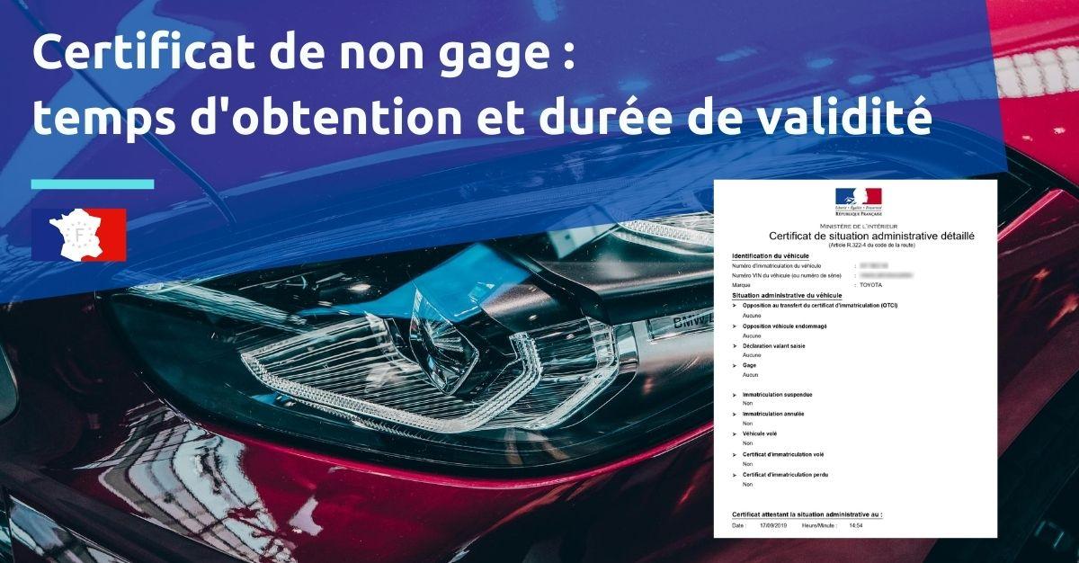 Certificat de situation administrative temps d'obtention et durée de validité