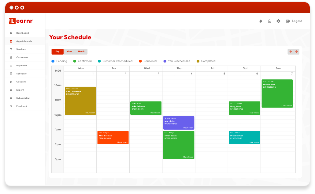 Driving Instructor Diary Software Dashboard