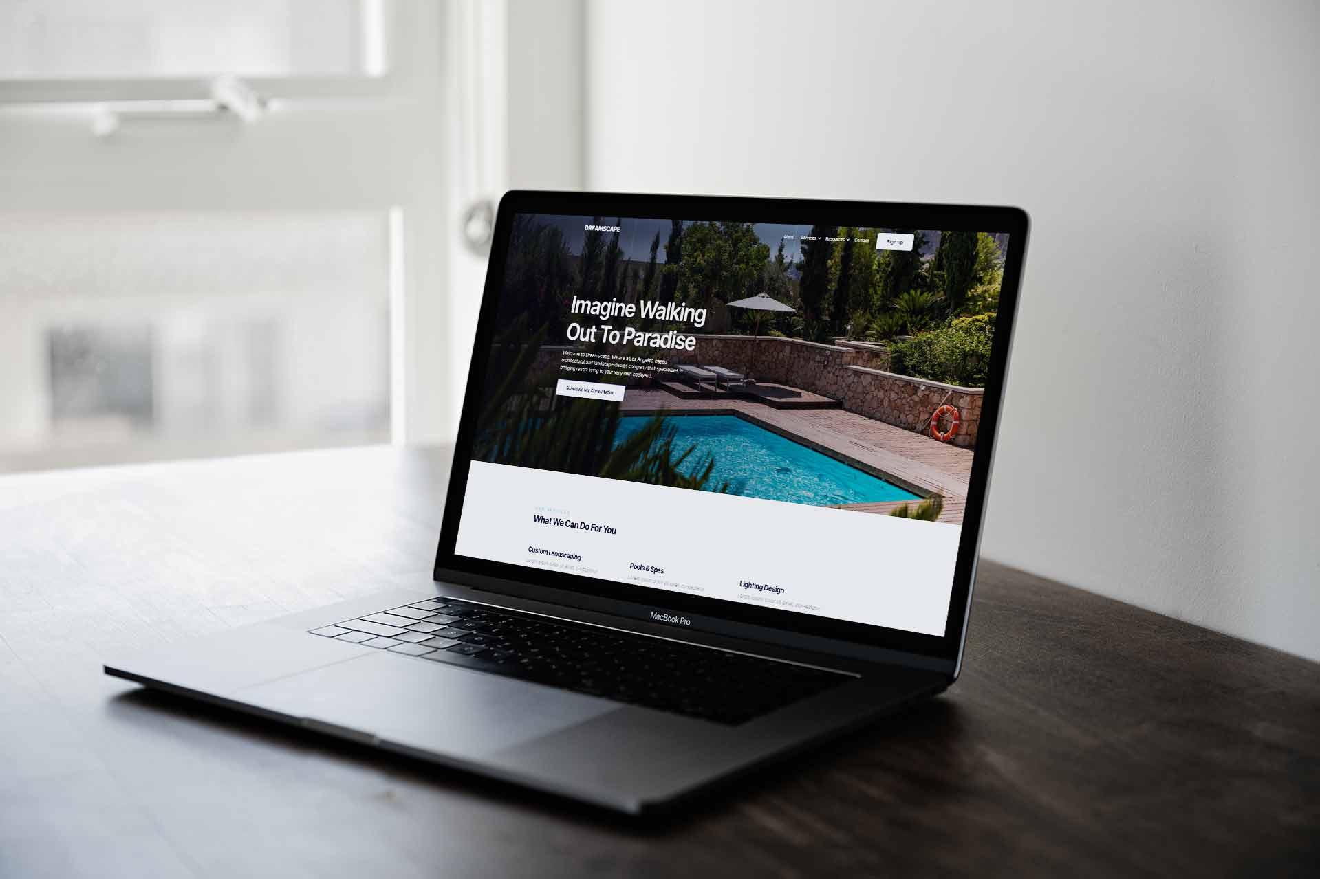 Landscape Website Design on a laptop