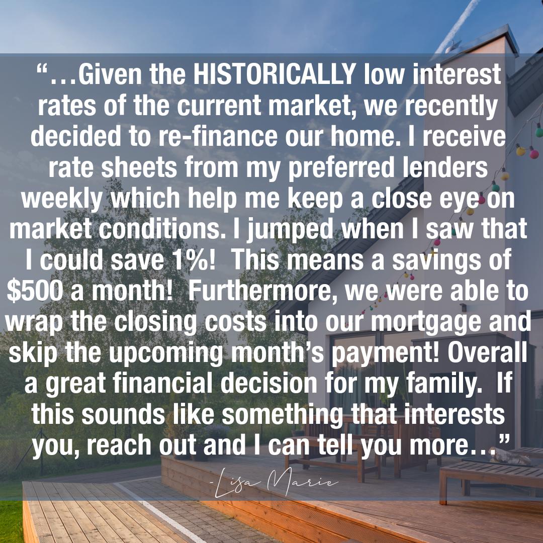 I Just Refinanced My Home
