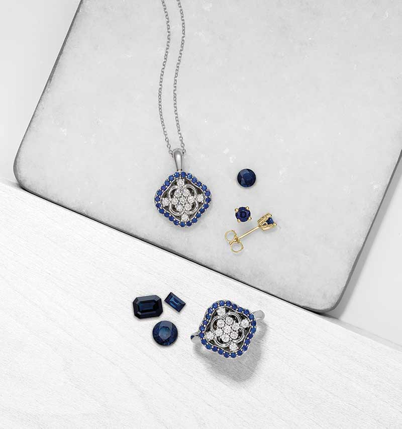 Picture of various blue sapphires mounted in jewelry