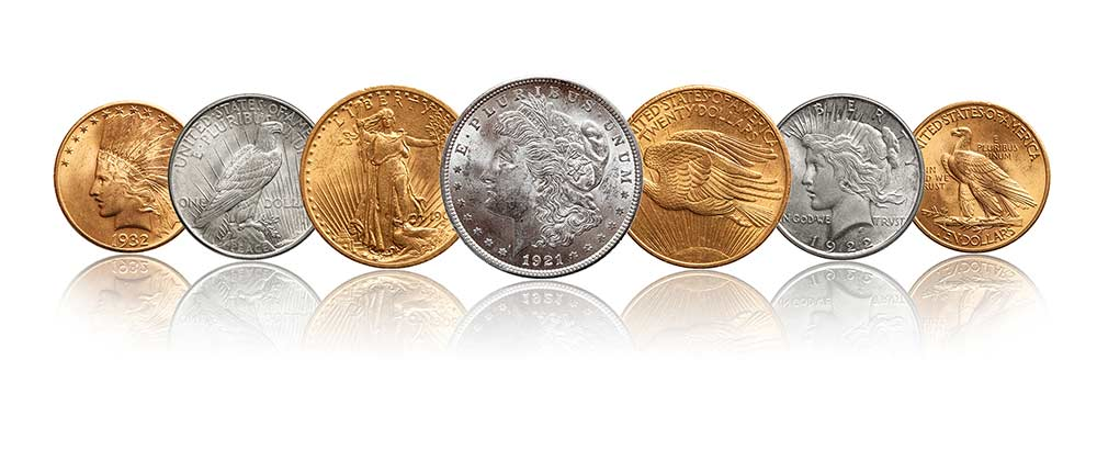 Variety of gold and silver numismatic coins