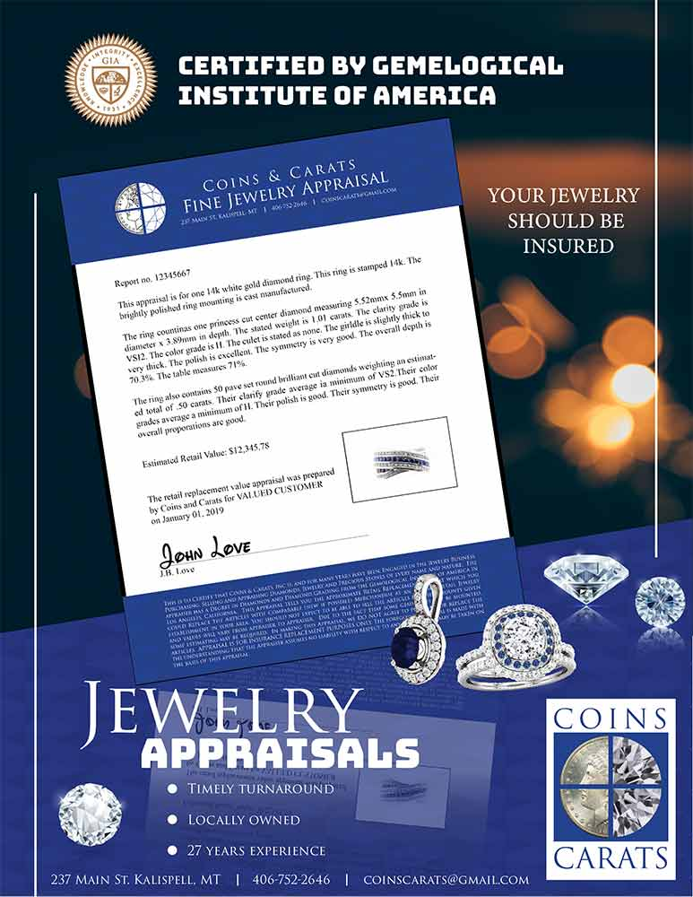 Picture of coins and carats jewelry appraisal form