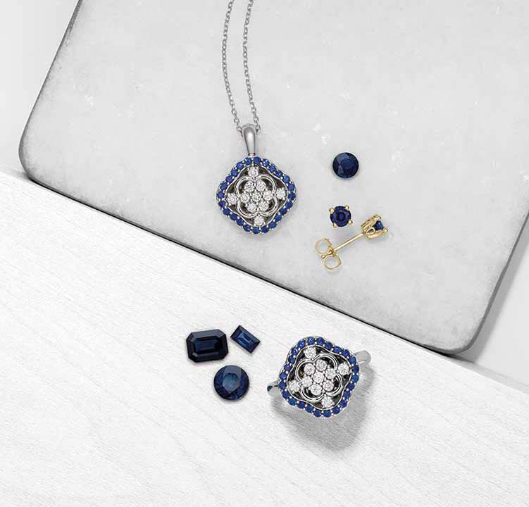 A variety of jewelry pieces made from Montana sapphires