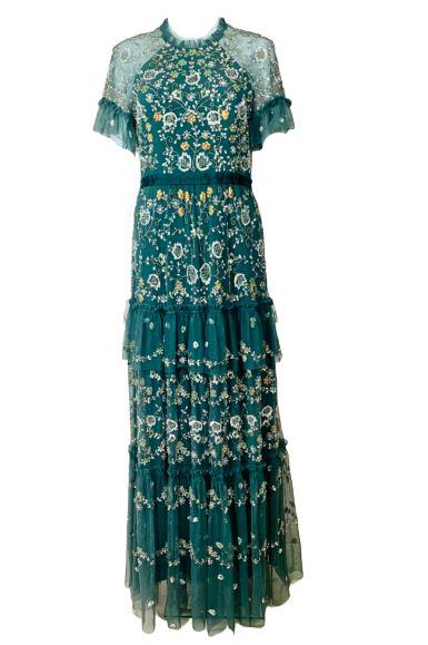 GREEN EMBELISHED MAXI DRESS