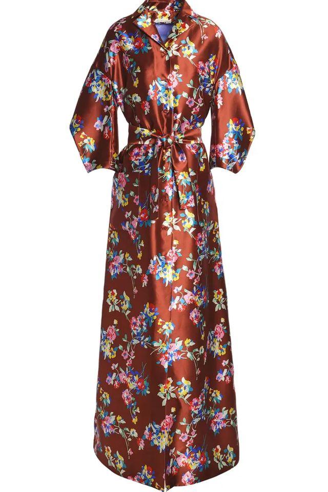 BROWN SATIN MAXI DRESS
