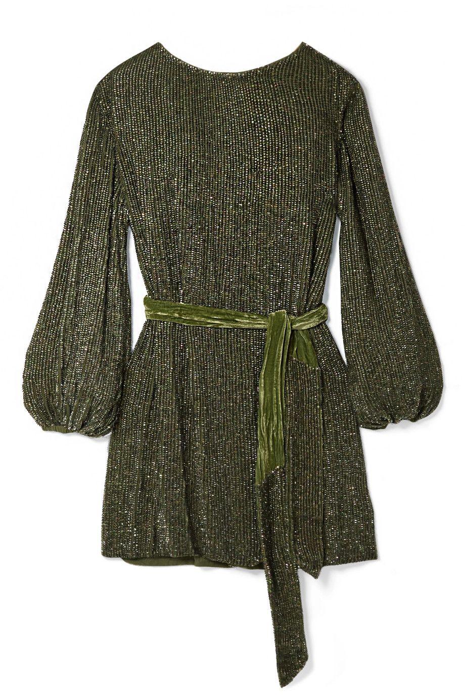 GREEN SEQUIN MINI DRESS WITH BELT