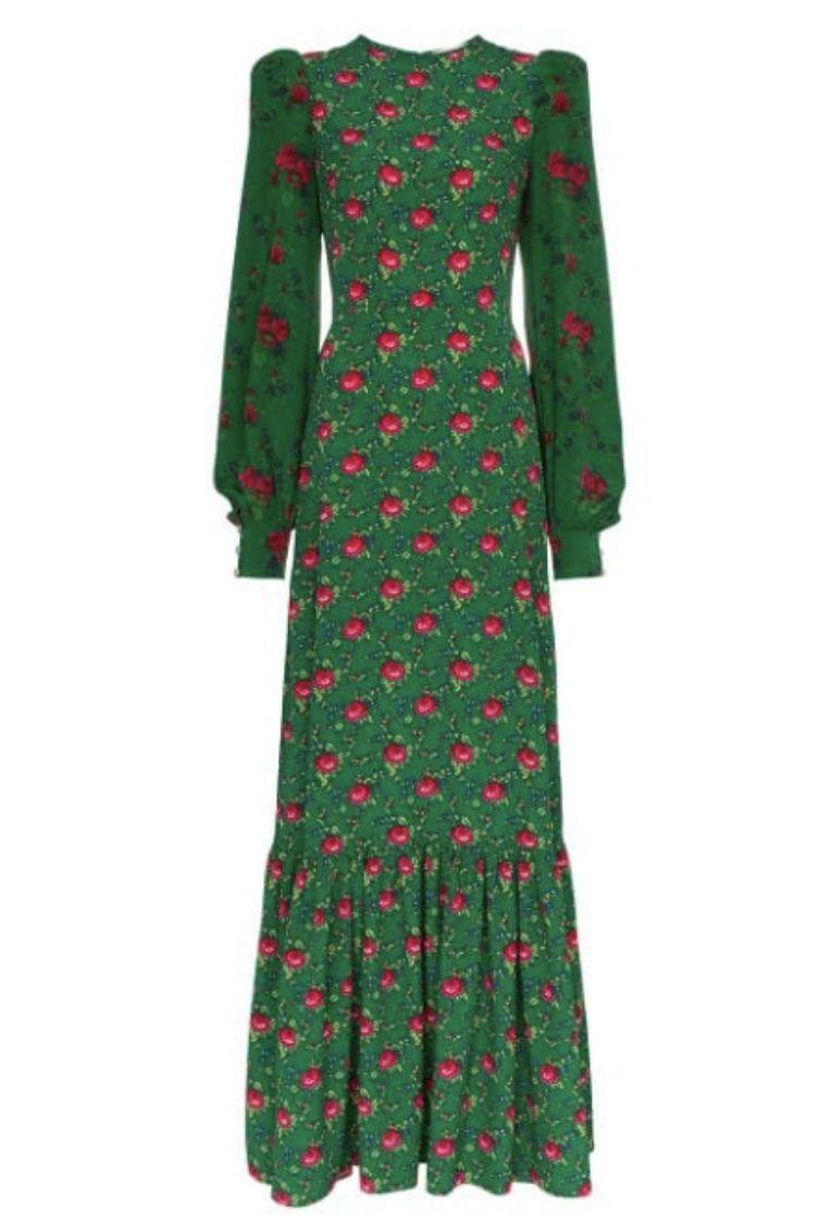 GREEN FLORAL MAXI DRESS