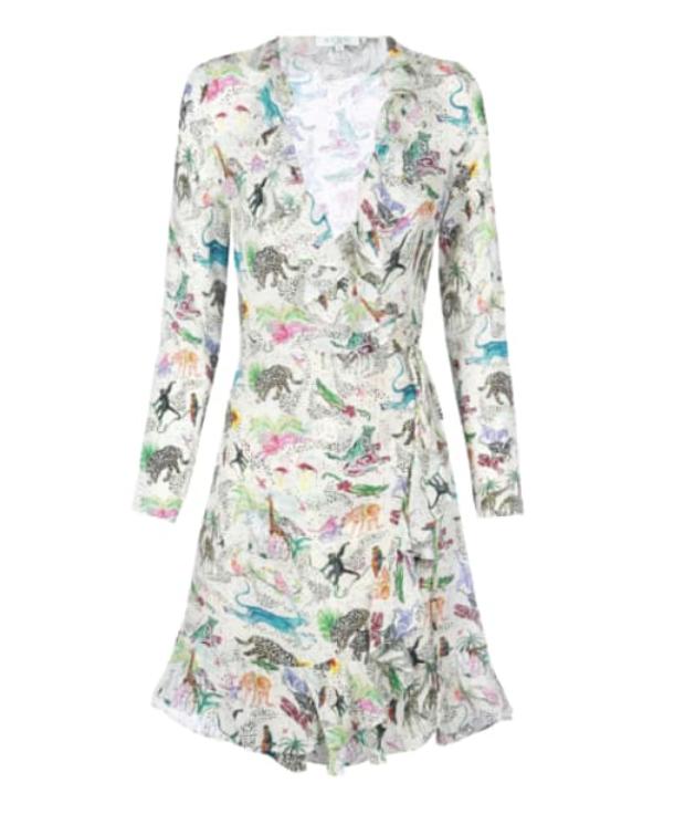 Jungle Print Mini Wrap dress