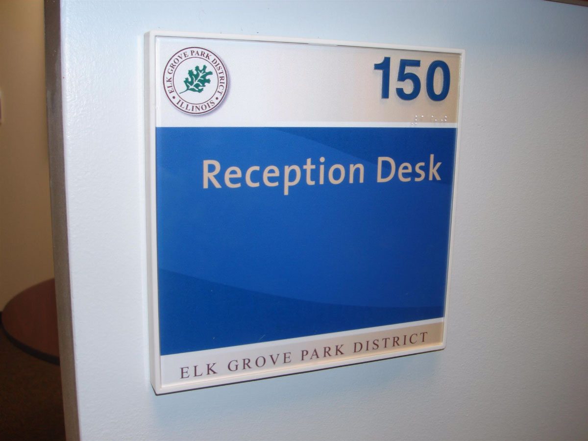 Elk Grove Park District Reception Desk Sign