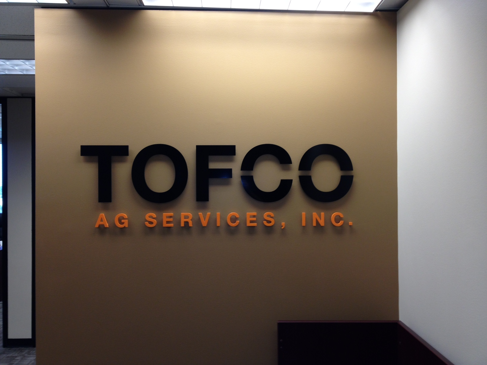 TOFCO AG Services, Inc. Lobby Sign