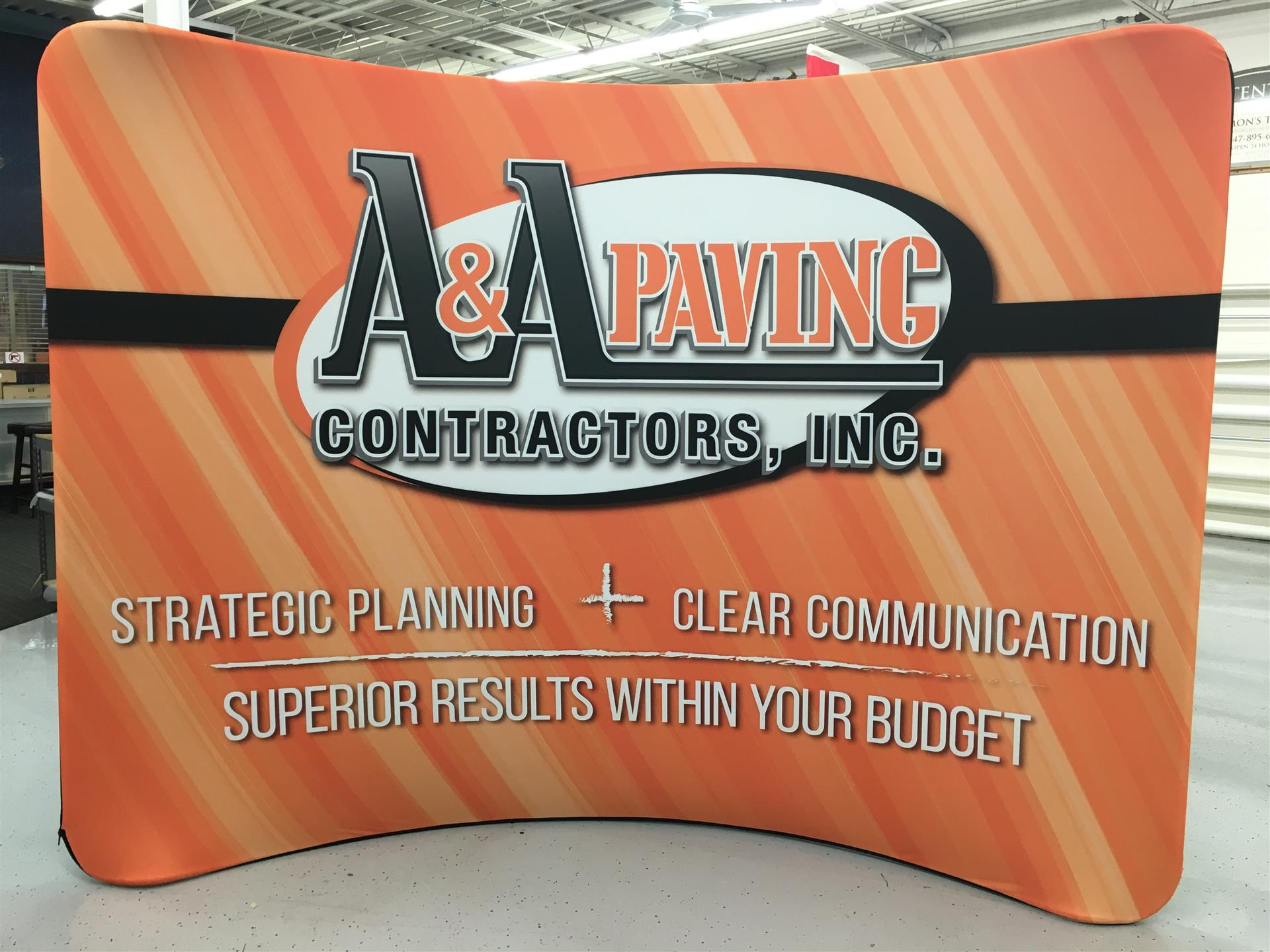 A&A Paving Contractors Trade Show Sign Stand