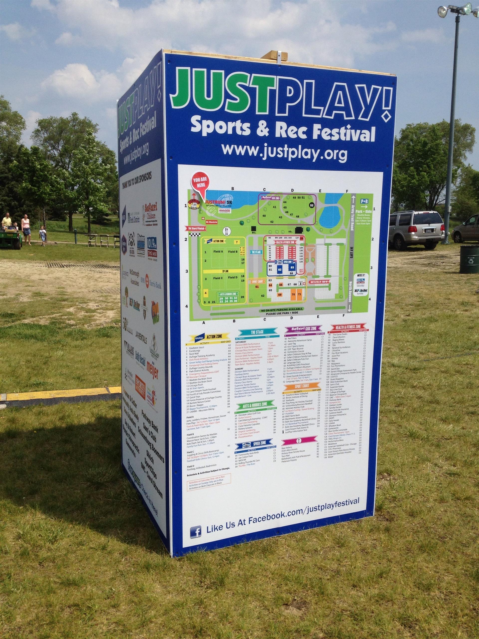 Just Play Spore & Rec Special Event Signage