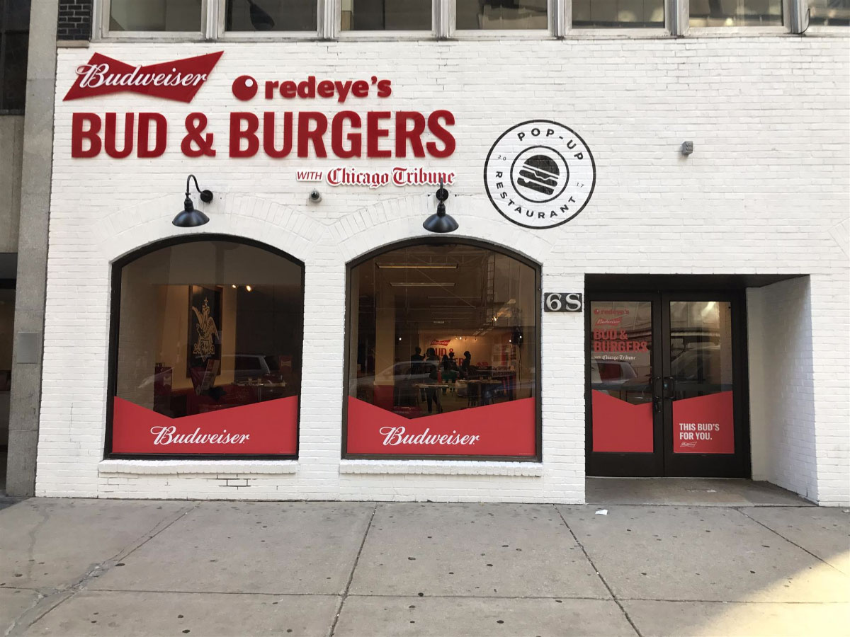Redeye's Bud & Burgers Storefront Graphic