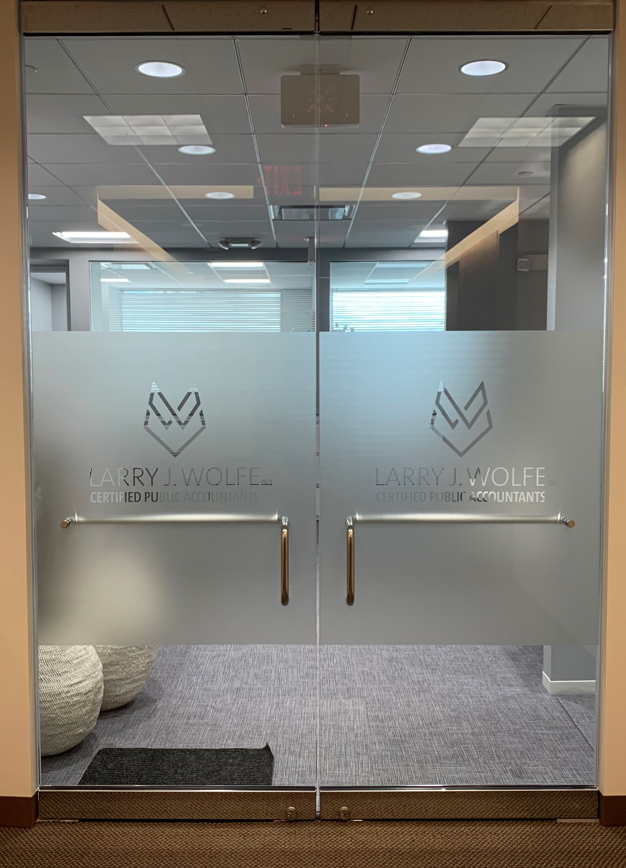 Frosted window graphics on office doors