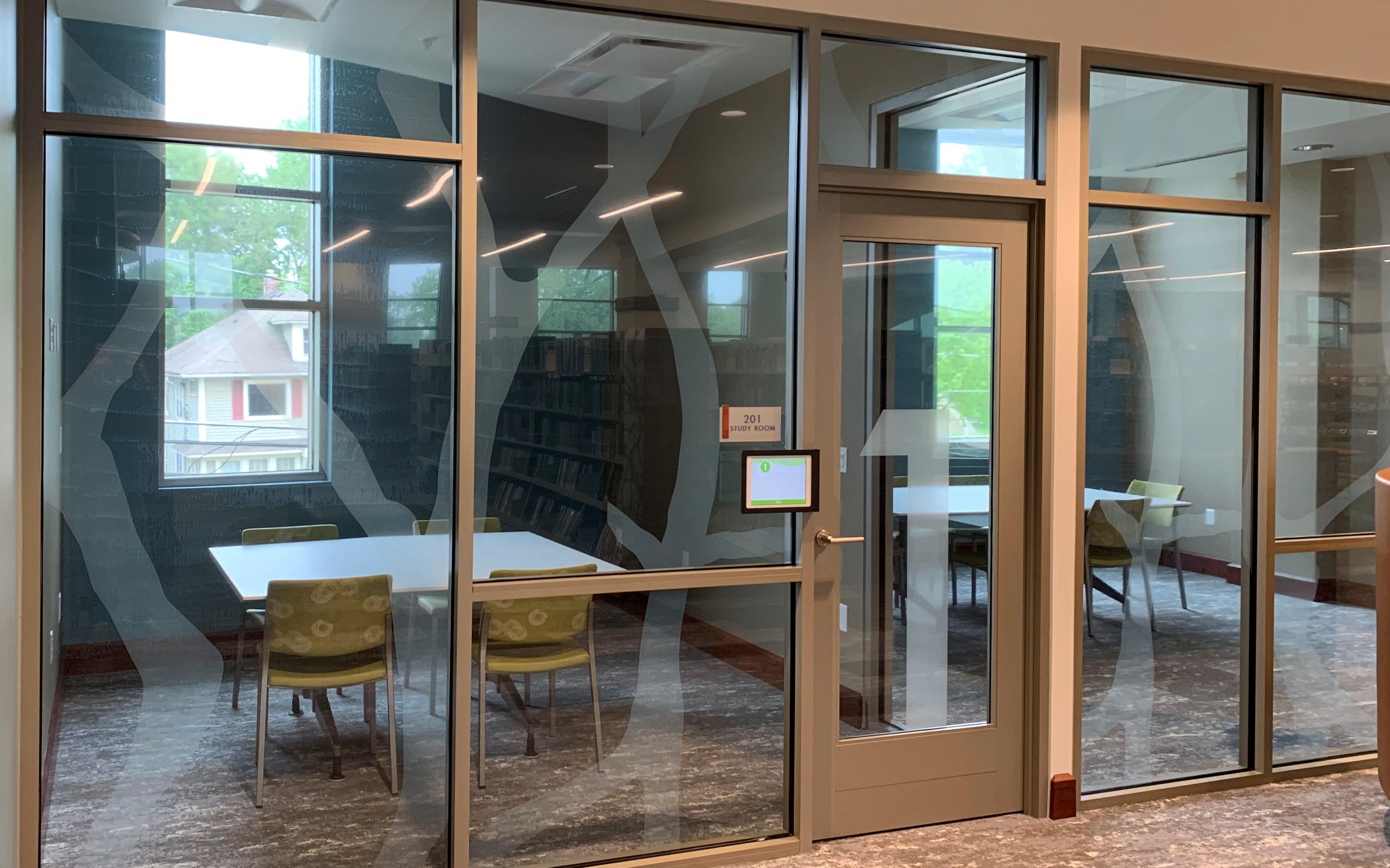Window graphics on study room windows