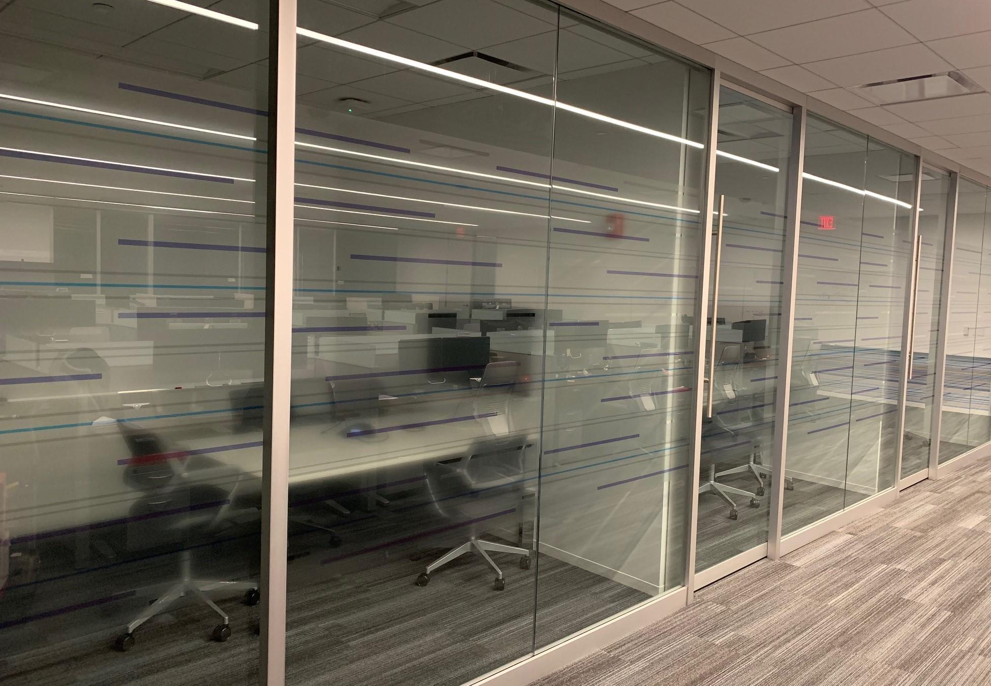 Window graphics on study room doors