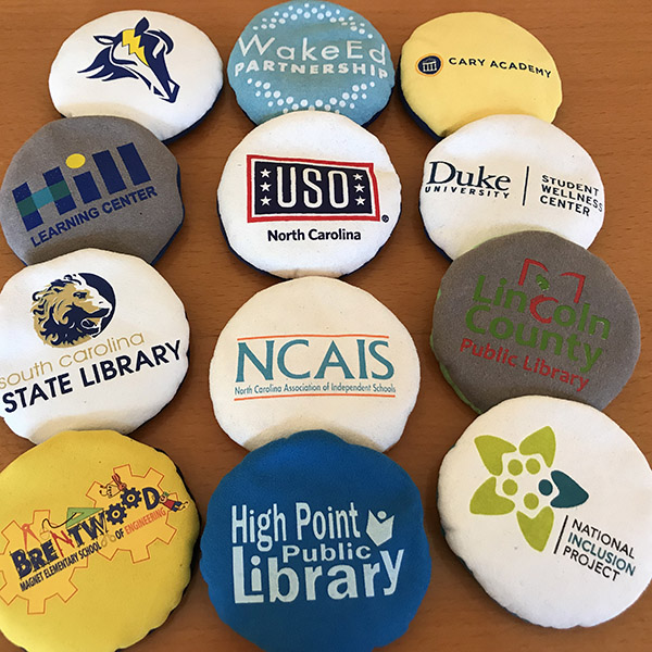 Custom Flop Balls for schools and libraries.