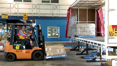 Forklift: Loading A Pallet Onto A Truck Tray