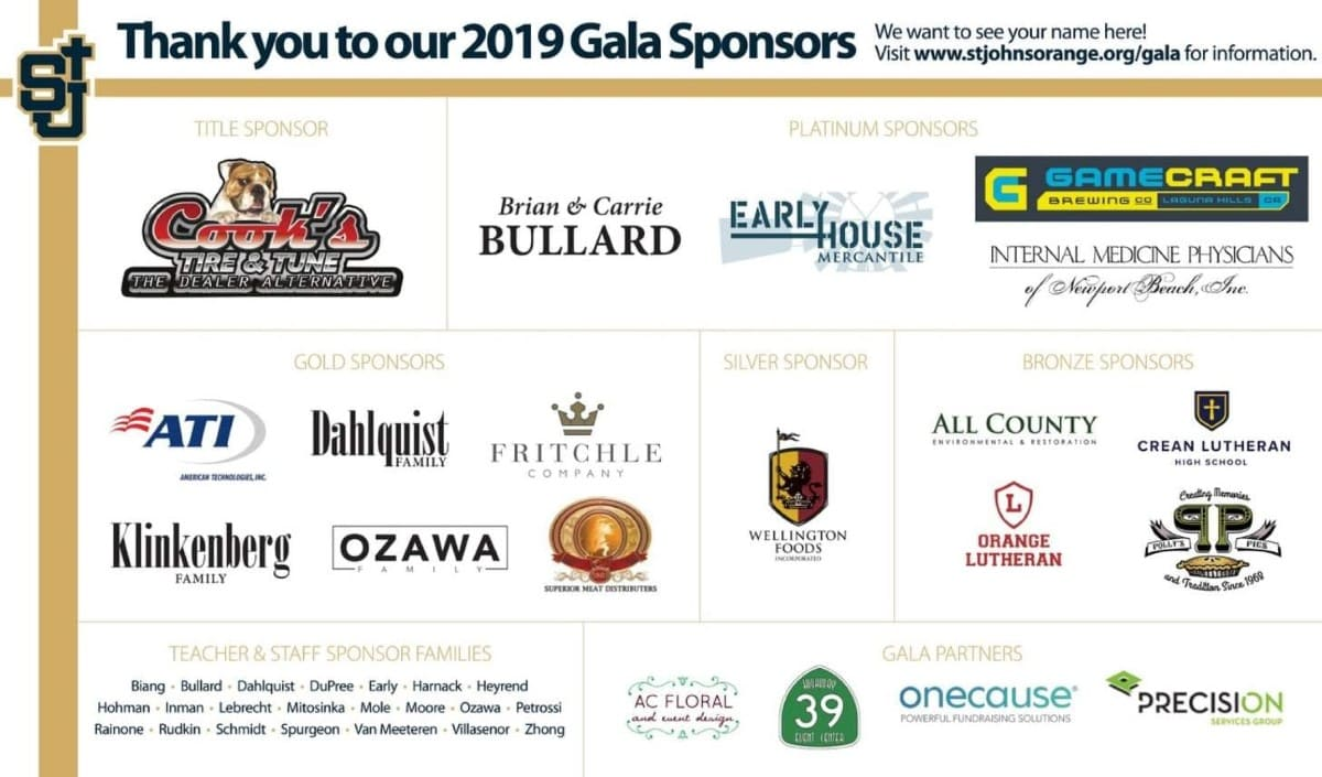 Gala Sponsors Private School in Orange, CA