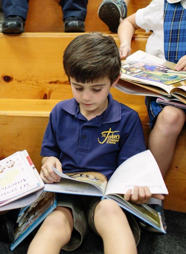 Children Read Book Private School in Orange, CA