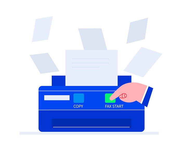 A fax machine with documents