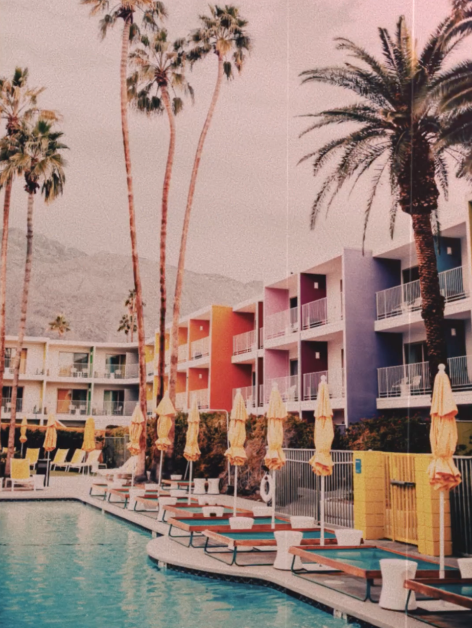 A bright, colorful hotel in Palm Springs, filtered with Andrew's Aria look