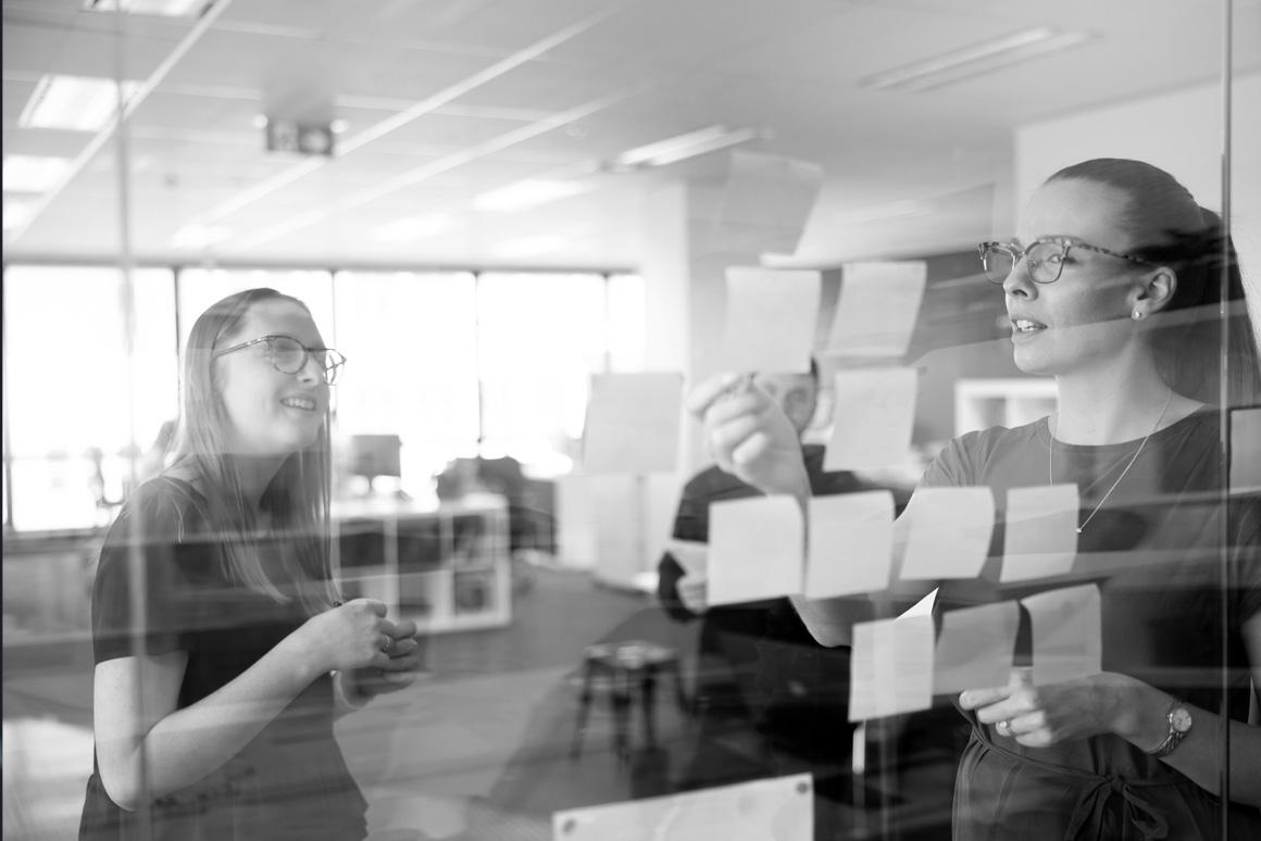 Designate team members discussing brand experience.