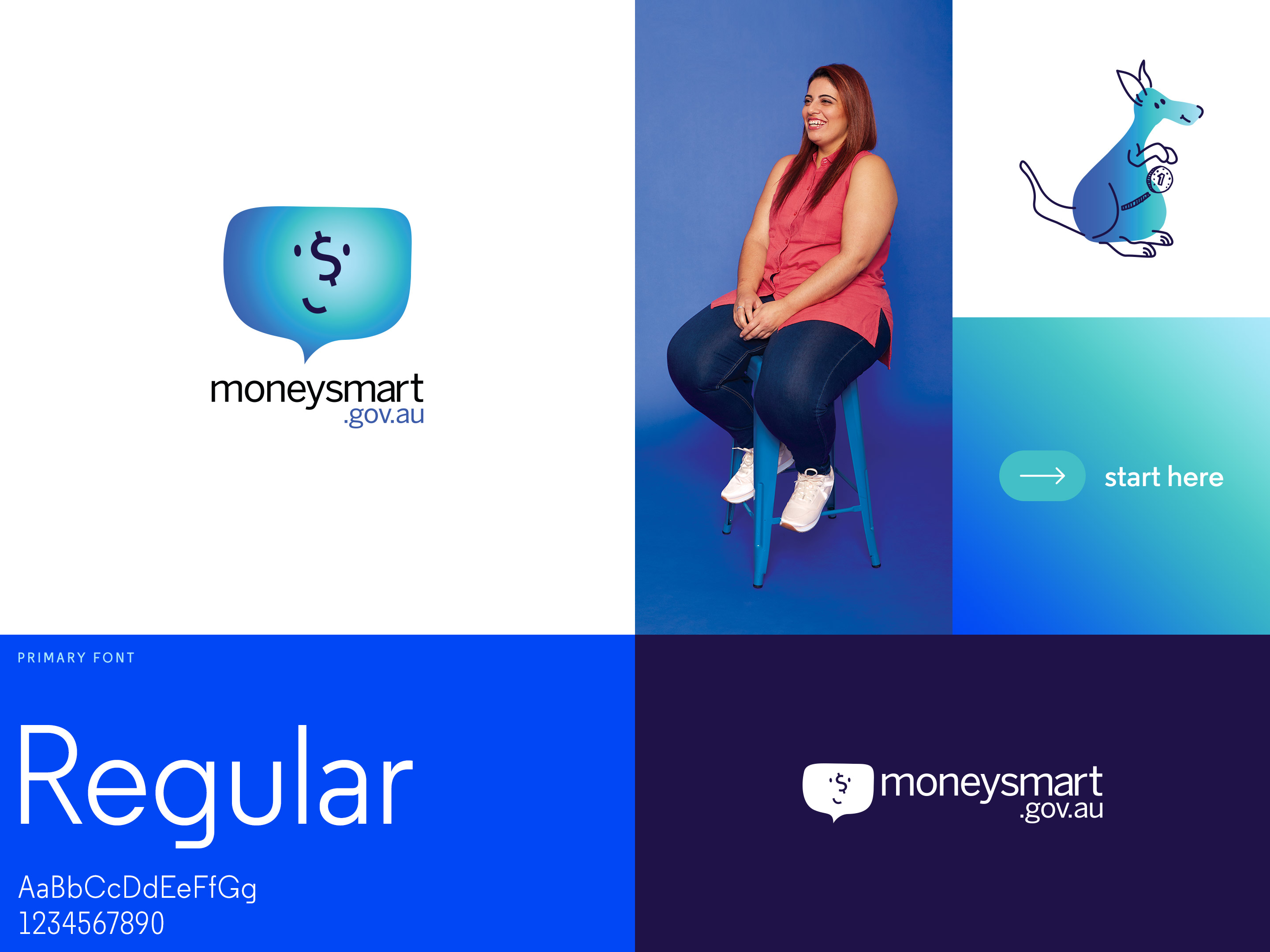 Moneysmart. Branding overview. Logos, brand photography, illustrations, typography and brand device.