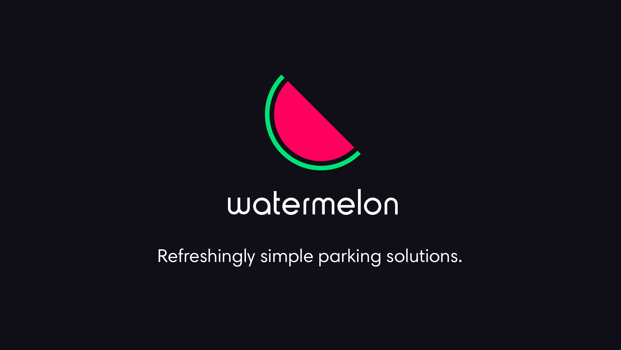Watermelon. Brand logo and tagline, 'Refreshingly simple parking solutions'.