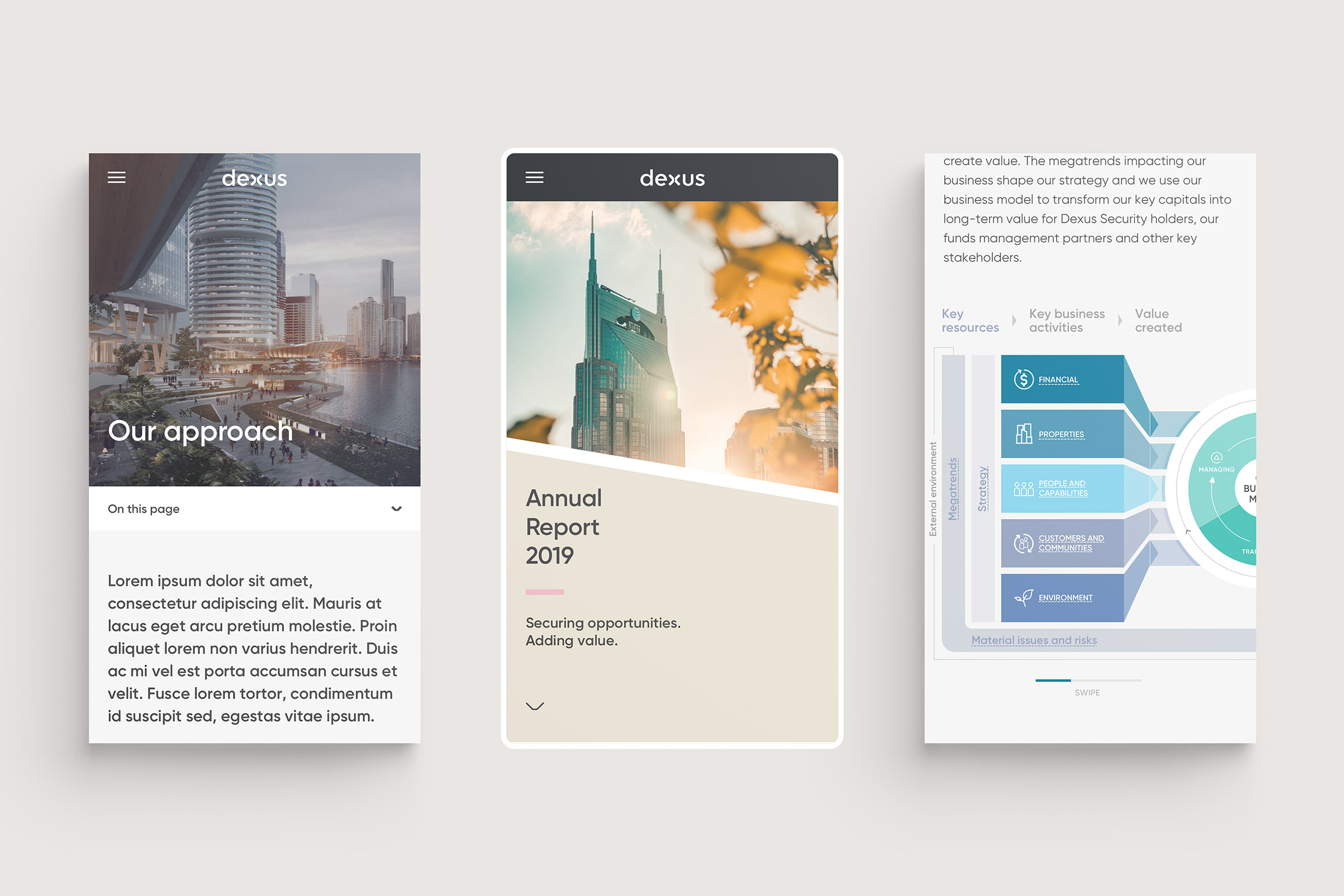 Dexus 2019 Annual Report. Mobile responsive website design with 'Homepage' , 'Our approach' and infographic details.