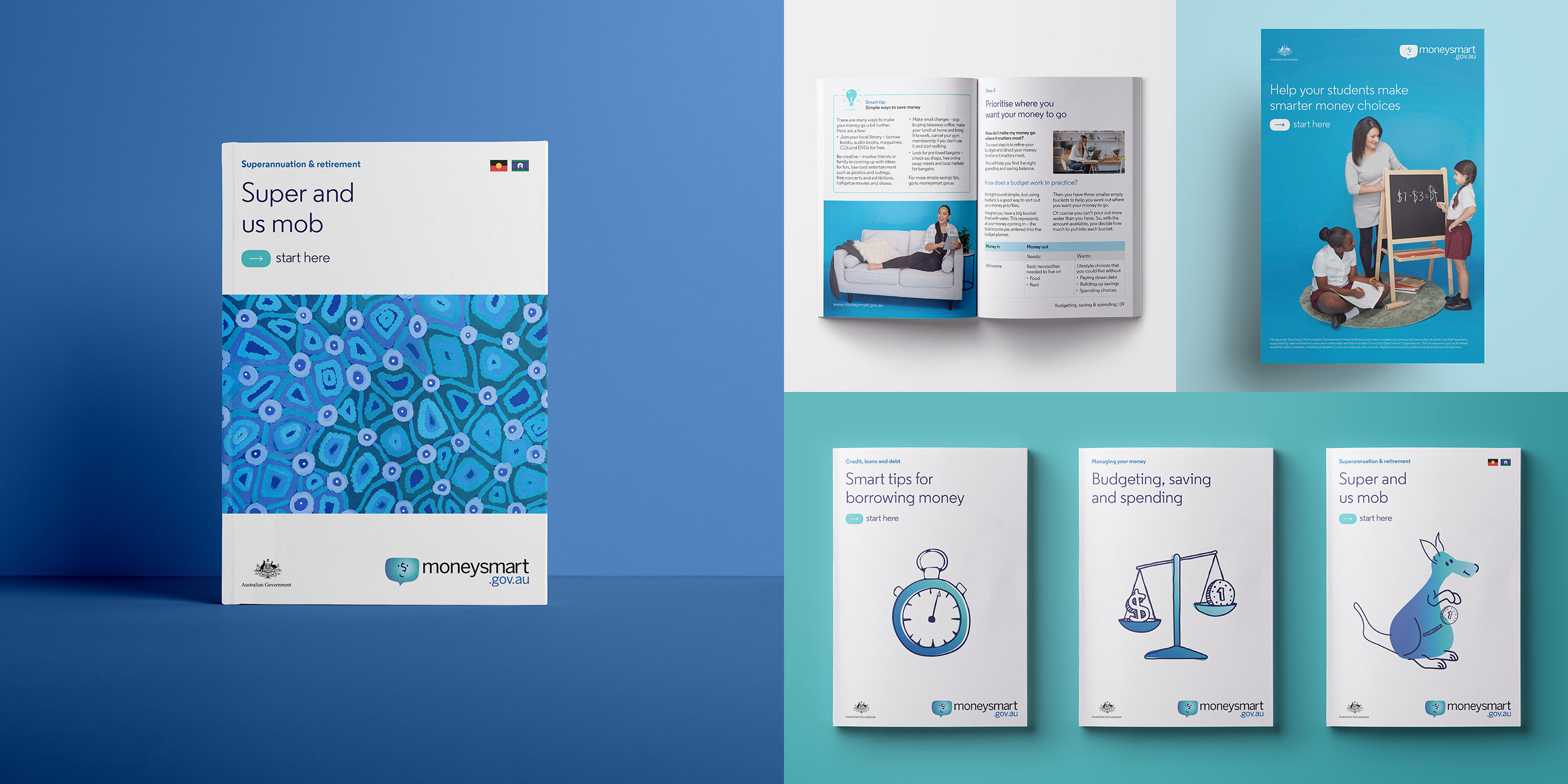 Moneysmart. Printed material overview. Information booklet front covers and spreads and poster design.