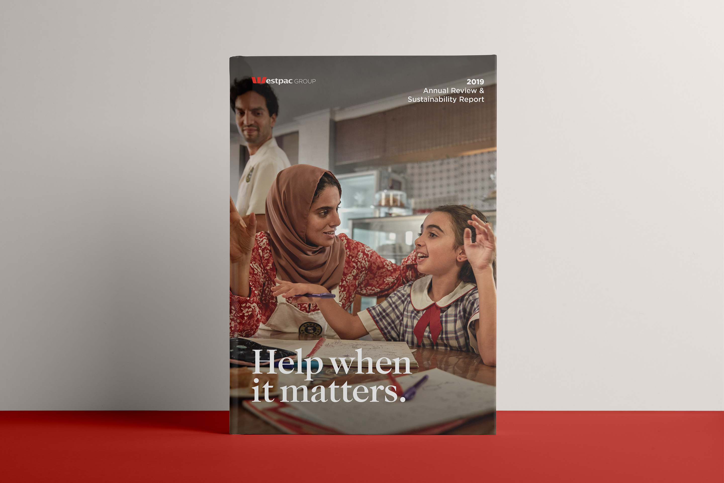 Westpac 2019 Annual Report. Front cover design.