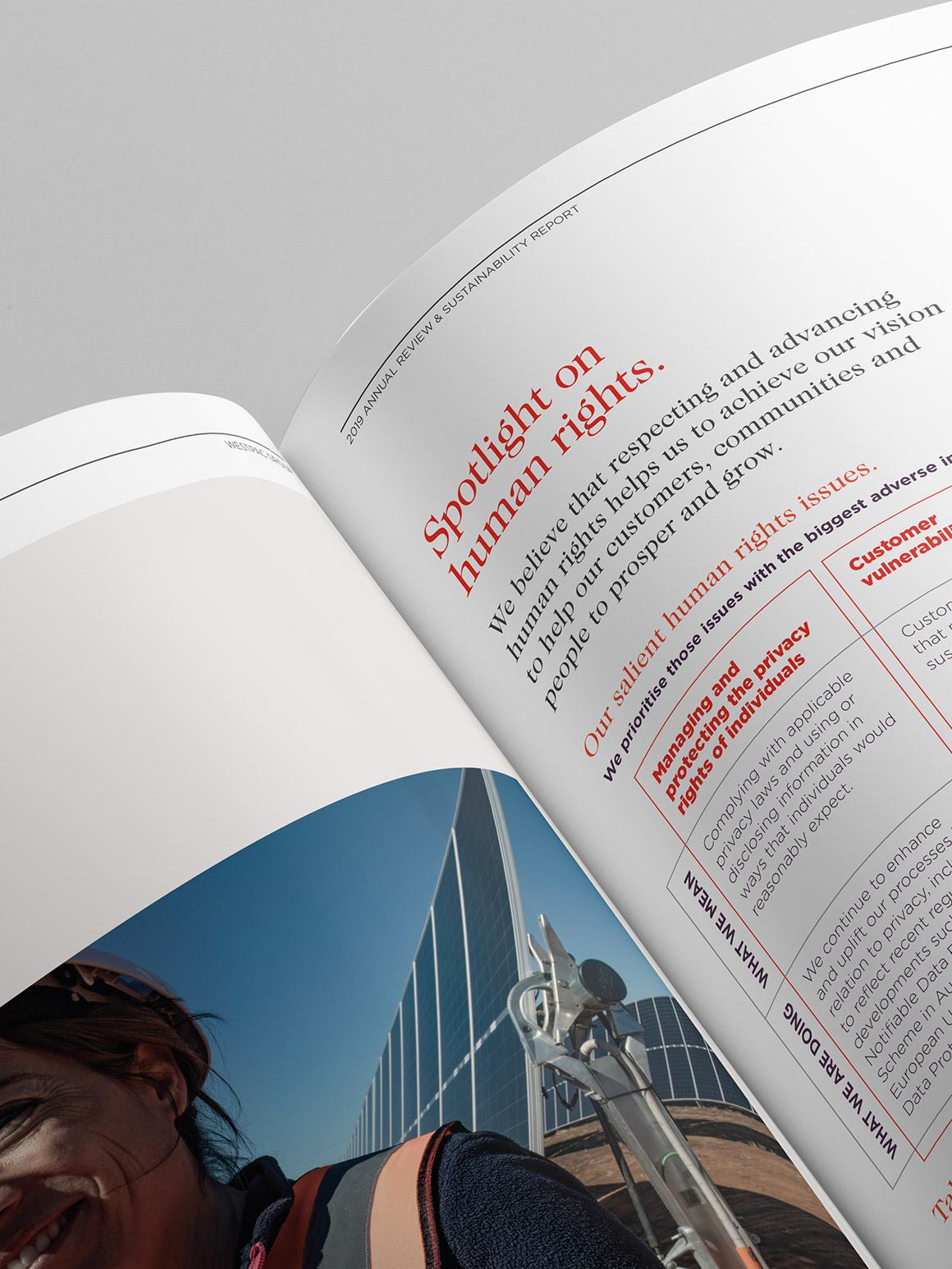 Westpac 2019 Annual Report. Inside spread detail.