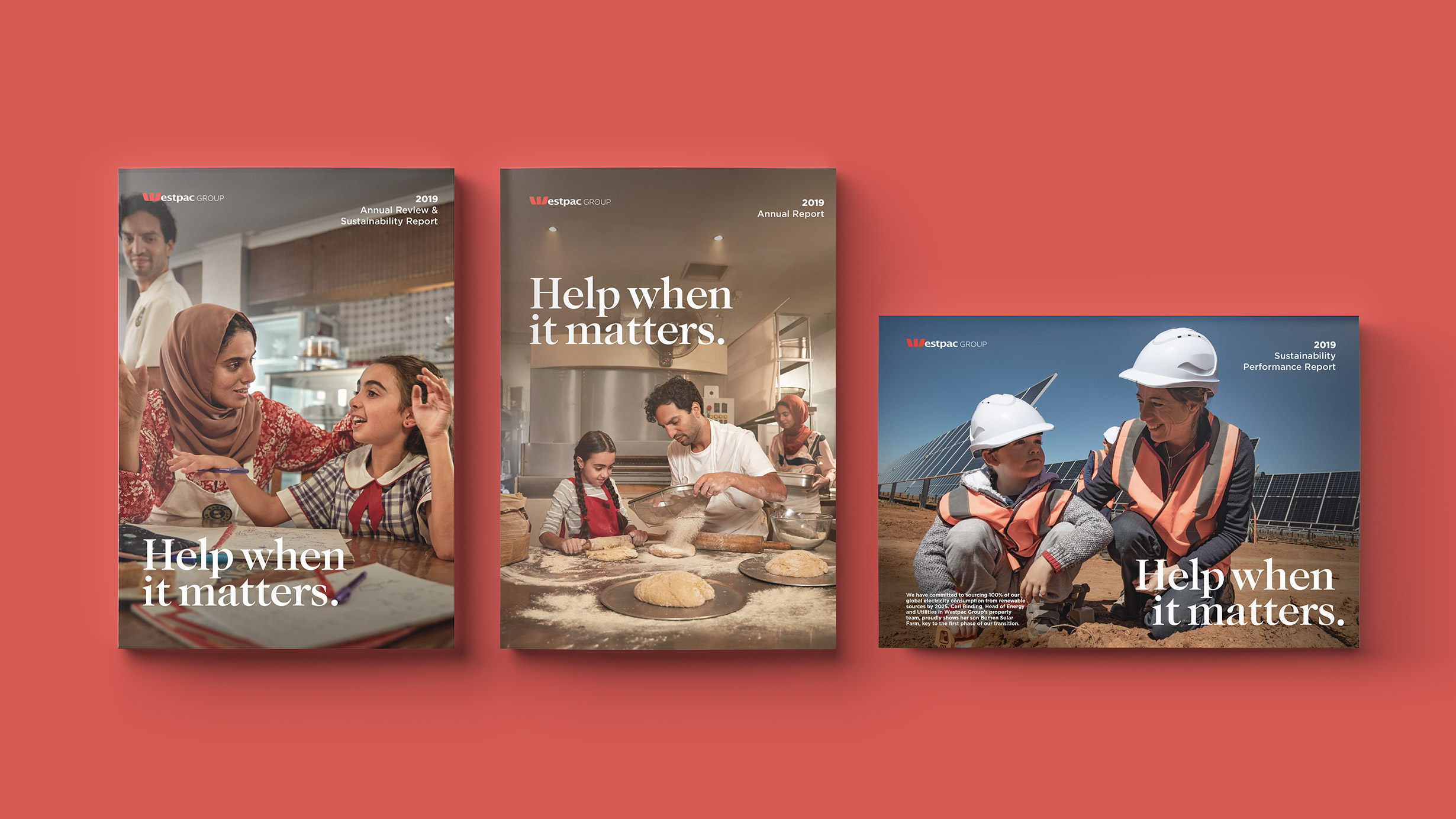 Westpac 2019 Annual Report. Printed material front covers and interactive PDF cover.