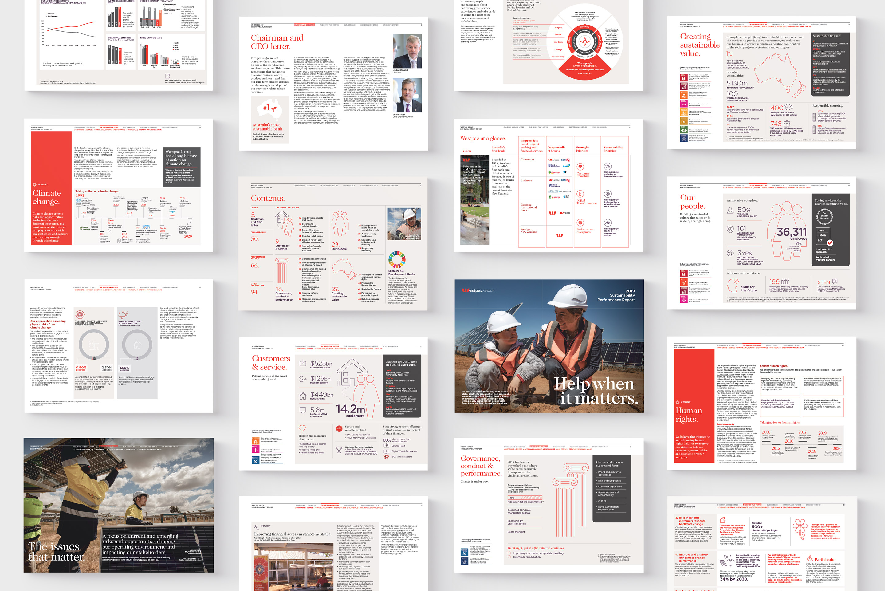 Westpac 2019 Annual Report. Interactive PDF page design overview.