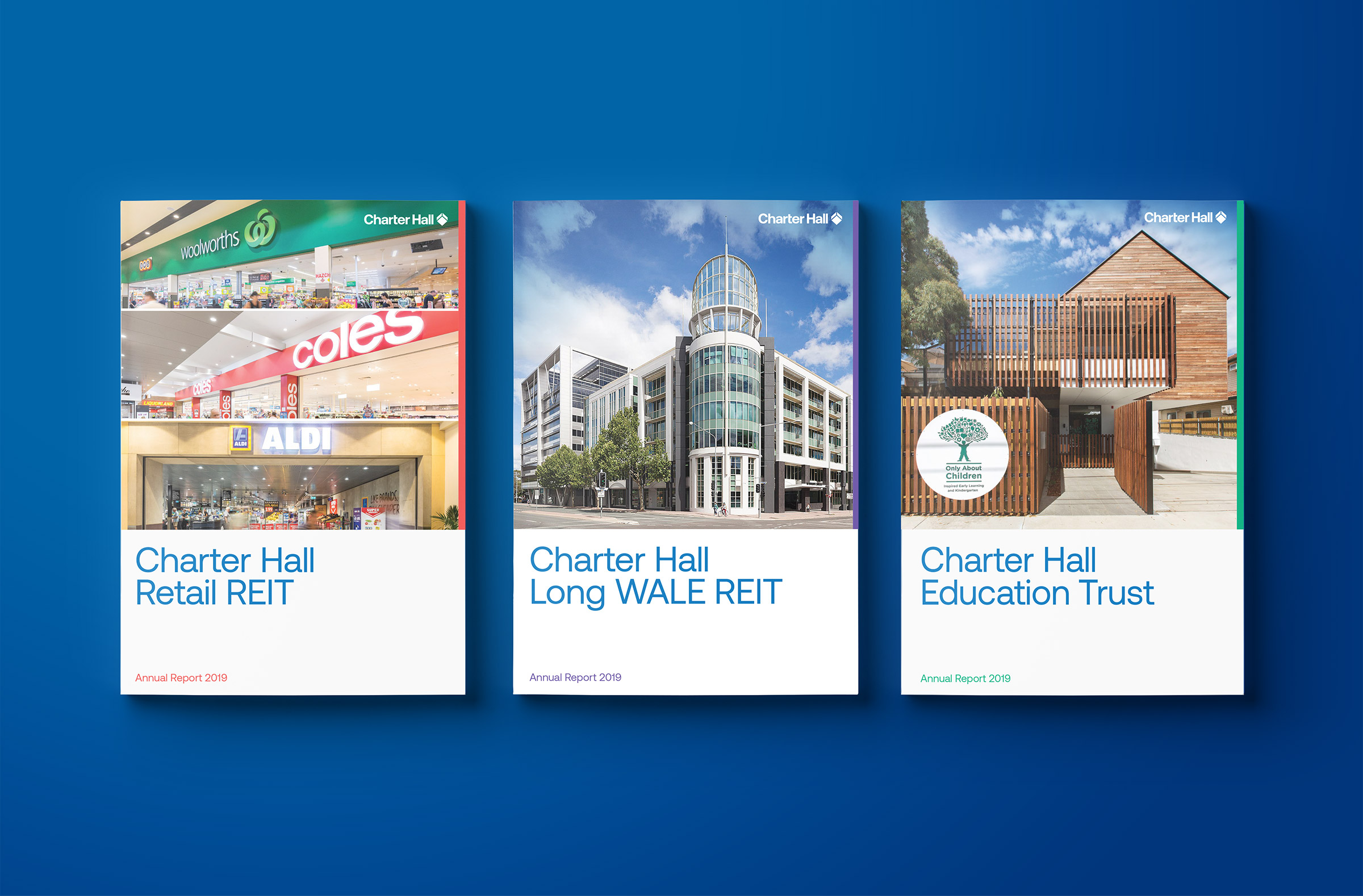 Charter Hall Annual Report. Retail REIT, Long WALE REIT and Education Trust front covers.